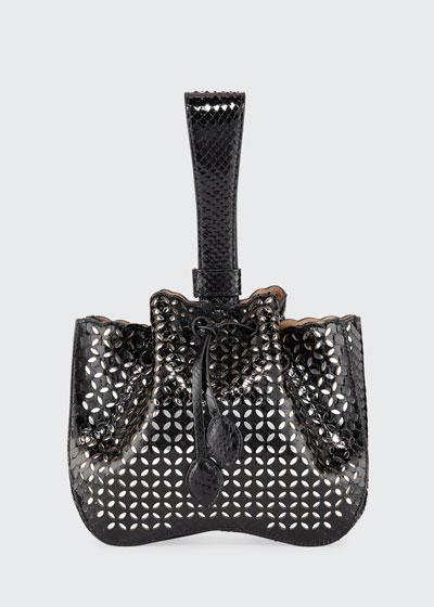 Rose Marie Small Python Wristlet Bucket Bag