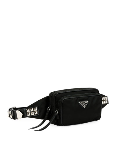 Prada Black Nylon Belt Bag With Studding