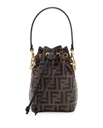 05545213c3d8 Fendi Signature Bag. Mon Tresor FF-Embossed Leather Bucket Bag