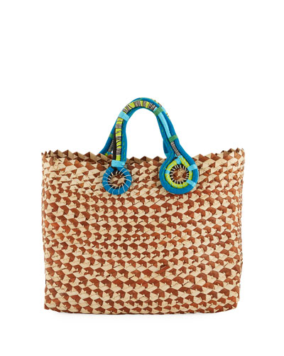 Belle Woven Colorblock Tote Bag
