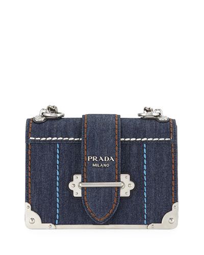 9a9fc8dfd06c Cahier Large Denim Crossbody Bag Quick Look. Prada