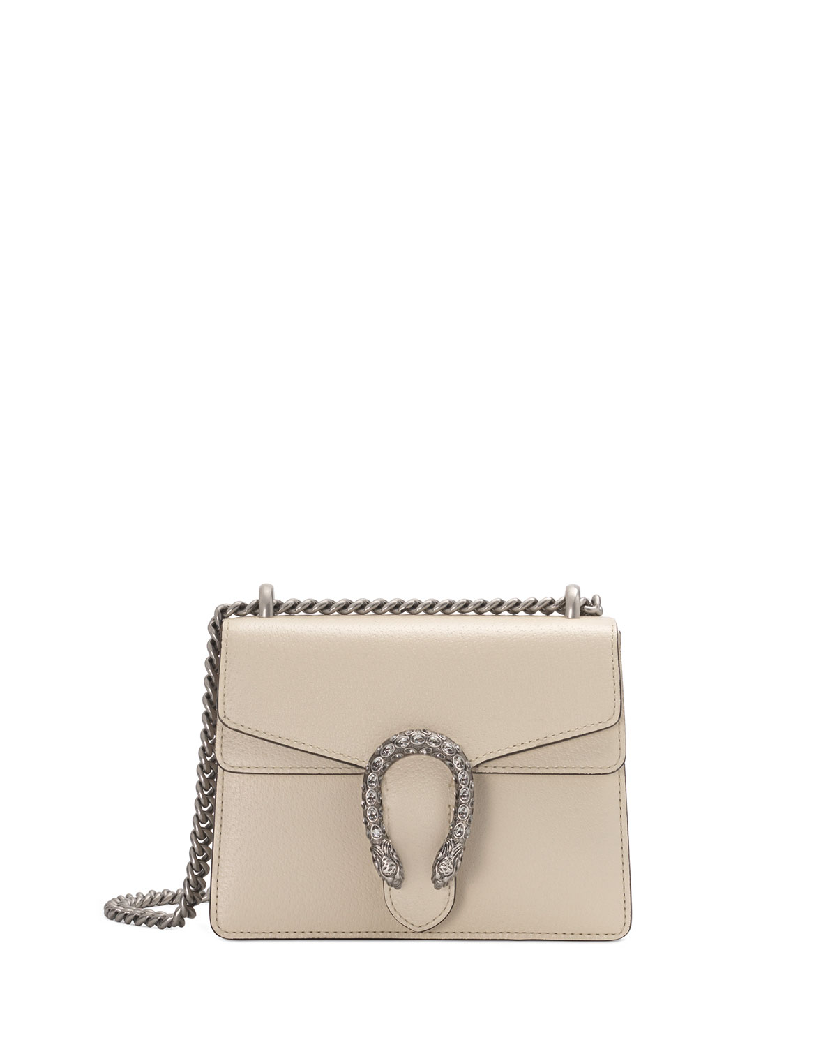 Dionysus Mini Leather Shoulder Bag With Crystal Tiger Spur in Ivory