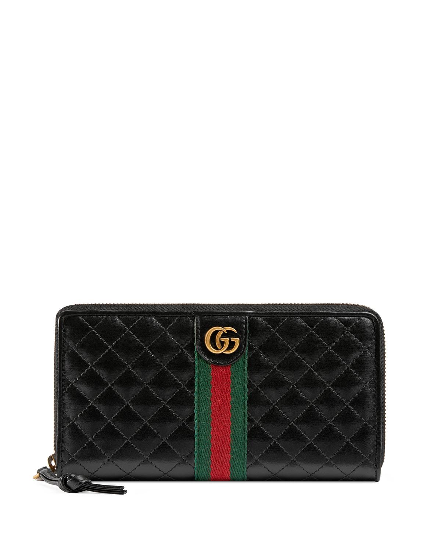 Gucci Wallets TRAPUNTATA LEATHER ZIP-AROUND WALLET