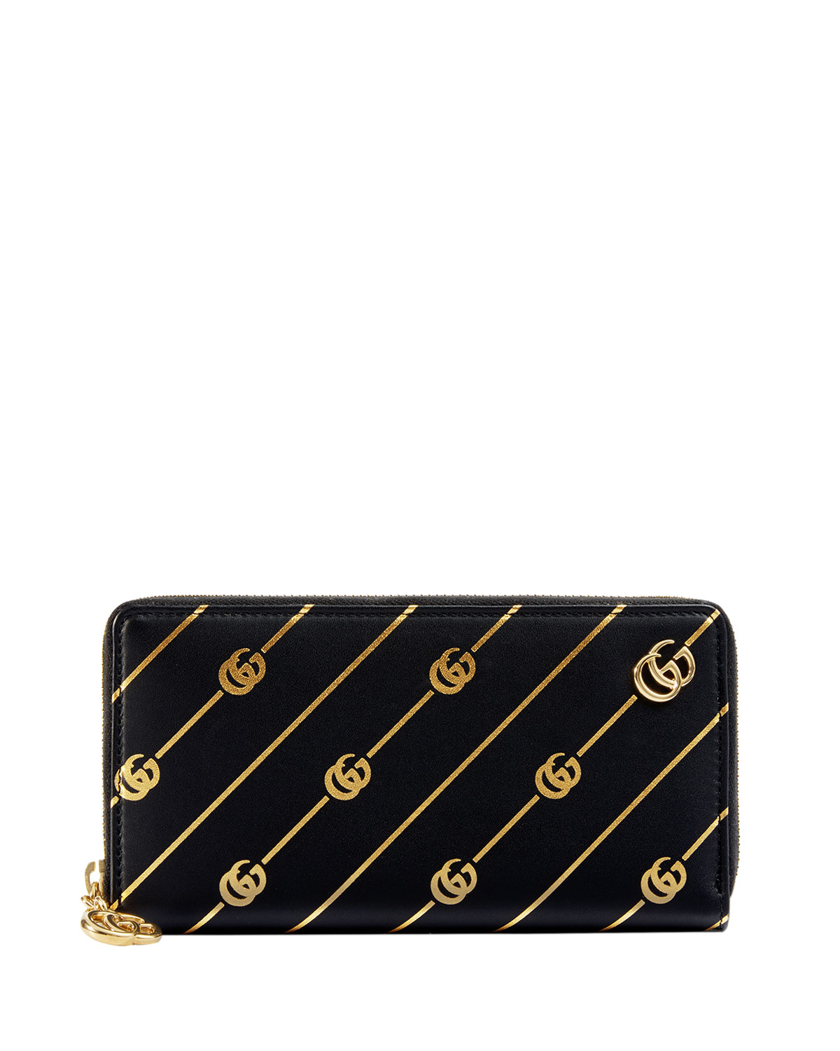 Gucci Wallets GG Diagonal Leather Zip-Around Wallet, BLACK/GOLD
