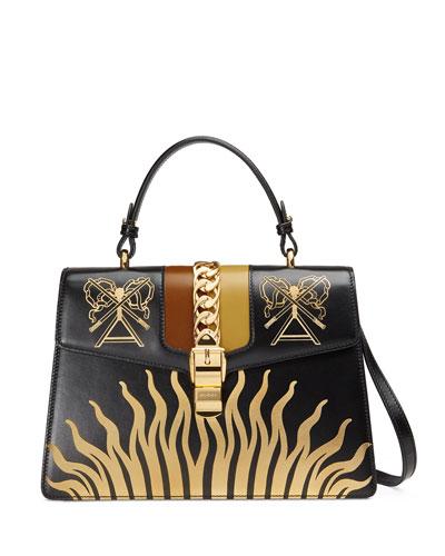 Sylvie Medium Gold Sun Top-Handle Bag