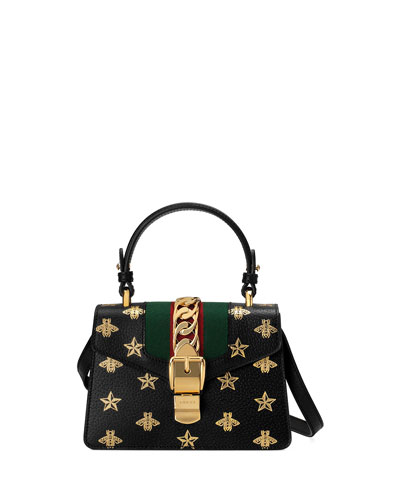 Sylvie Small Bee-Print Leather Top-Handle Satchel Bag