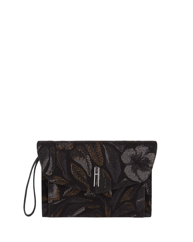 HAYWARD Bobby Jacquard Clutch Bag in Black Pattern