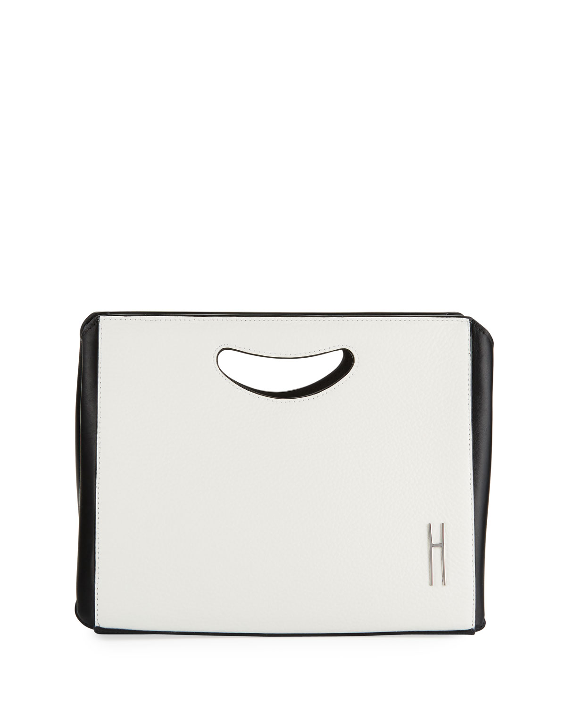 HAYWARD 1712 Two-Tone Basket Clutch Bag in White/Black
