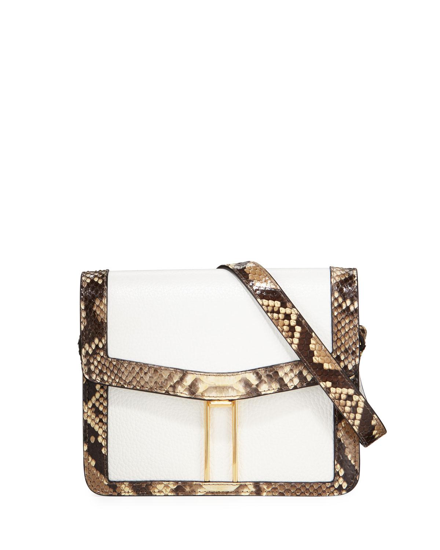 HAYWARD Mini H Python Crossbody Bag in White/Brown