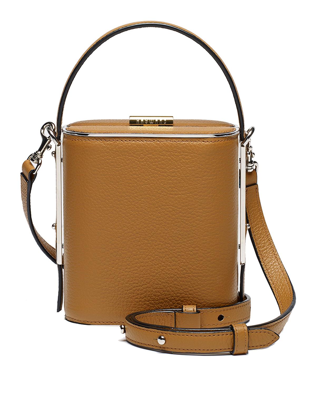 HAYWARD Field Pebbled Leather Top Handle Bag in Brown