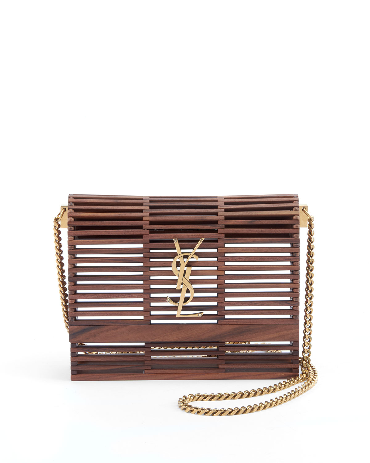 Small Kate Wooden Weave Box Bag, Brown