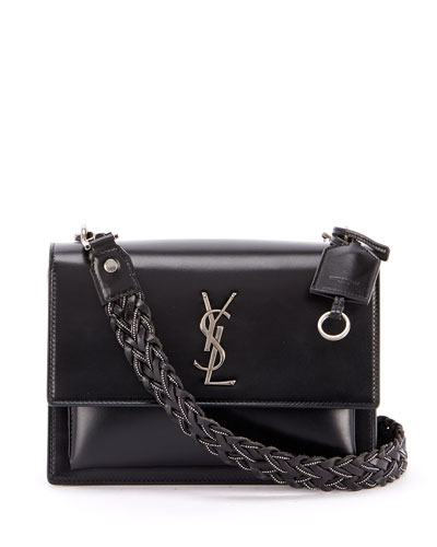Sunset Medium YSL Monogram Flap Shoulder Bag - Silver Hardware