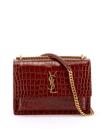 fb8eb5367c5ca Sunset Medium YSL Monogram Faux-Croc Shoulder Bag