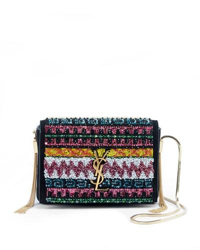 Kate Monogram YSL Small Sequin Tassel-Side Chain Crossbody Bag