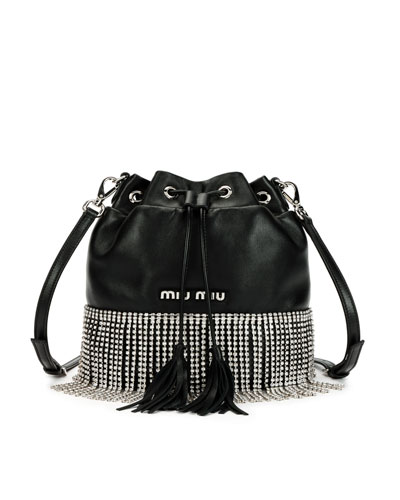 Small Crystal Fringe Napa Drawstring Bucket Bag