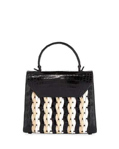 6107b06833 Lily Medium Woven Straw Crocodile Top-Handle Bag