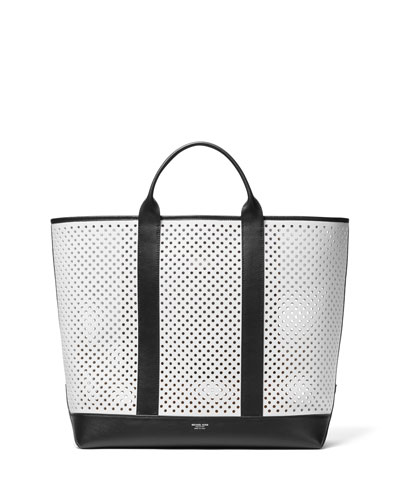 Colorblock Perforated Calf Tote Bag 2467242127424