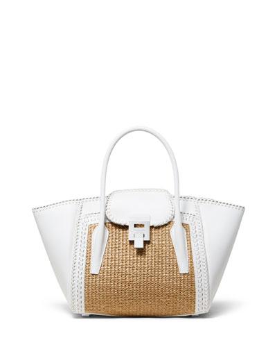 Straw and Leather Medium Satchel Bag