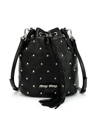 Leather Studded Bucket Bag
