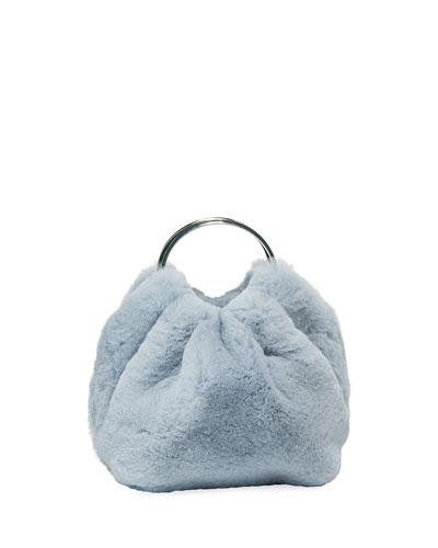 Double Circle Micro Fur Top Handle Bag
