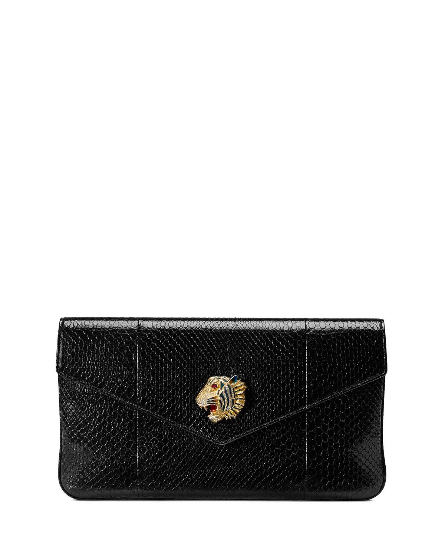 Rajah Python Clutch Bag With Tiger Head in Black