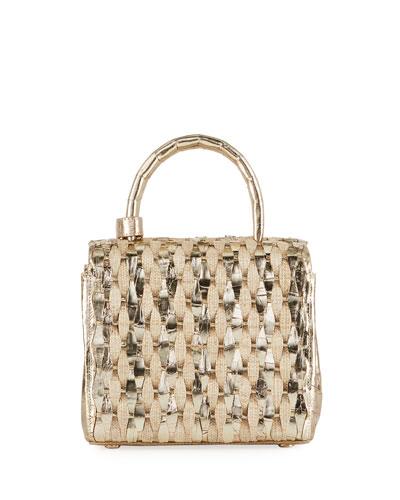 Toto Small Woven Top-Handle Bag