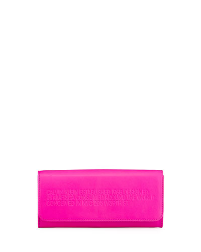 Smooth Neon Leather Wallet on Crossbody Chain