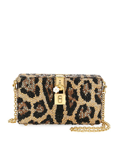 10e4a089c8 Dolce Leopard-Print Crystal Beaded Box Clutch Bag