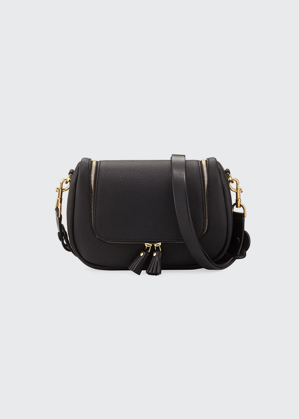 Vere Small Leather Satchel Bag in Black