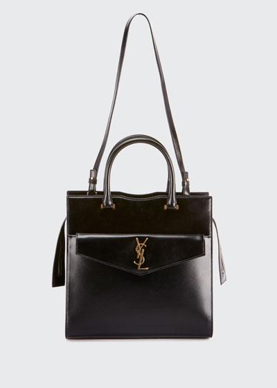 Uptown Medium Monogram YSL Cabas Cuir Glace Satchel Bag