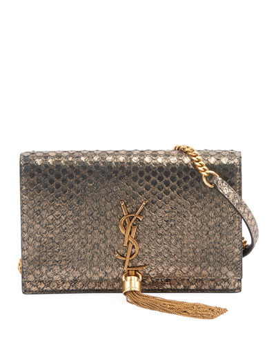 Saint Laurent Kate Monogram YSL Small Python-Effect Tassel