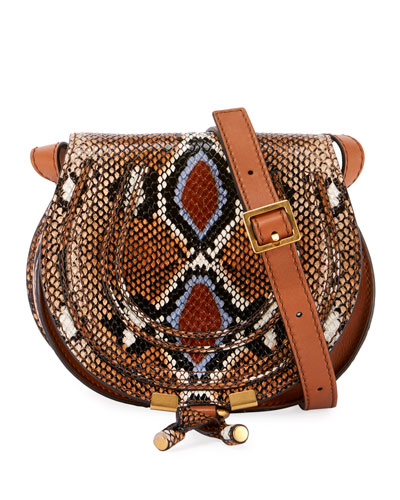 Marcie Small Python-Print Crossbody Bag