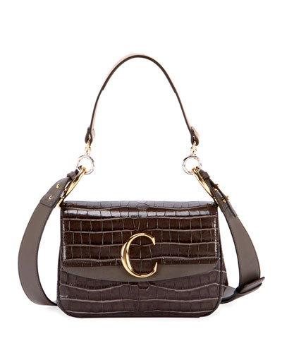 C Small Crocodile-Embossed Shoulder Bag