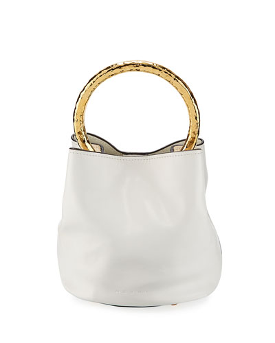 Leather Metal Circle Bucket Bag