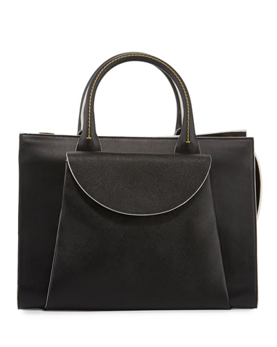 Leather Large Zip Top Tote Bag