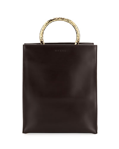 Leather Tote Bag with Circles