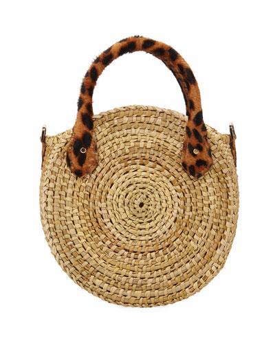 Le Circle Leopard Top Handle Bag