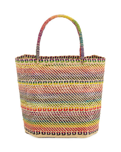 Rainbow Woven Straw Tote Bag