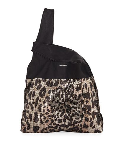 Leopard Mini Mesh Hobo Tote Bag