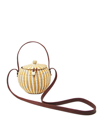 Striped Straw Coco Crossbody Bag