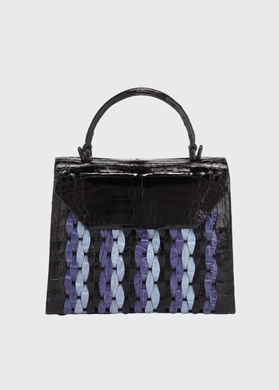 Lily Medium Woven Straw/Crocodile Top-Handle Bag