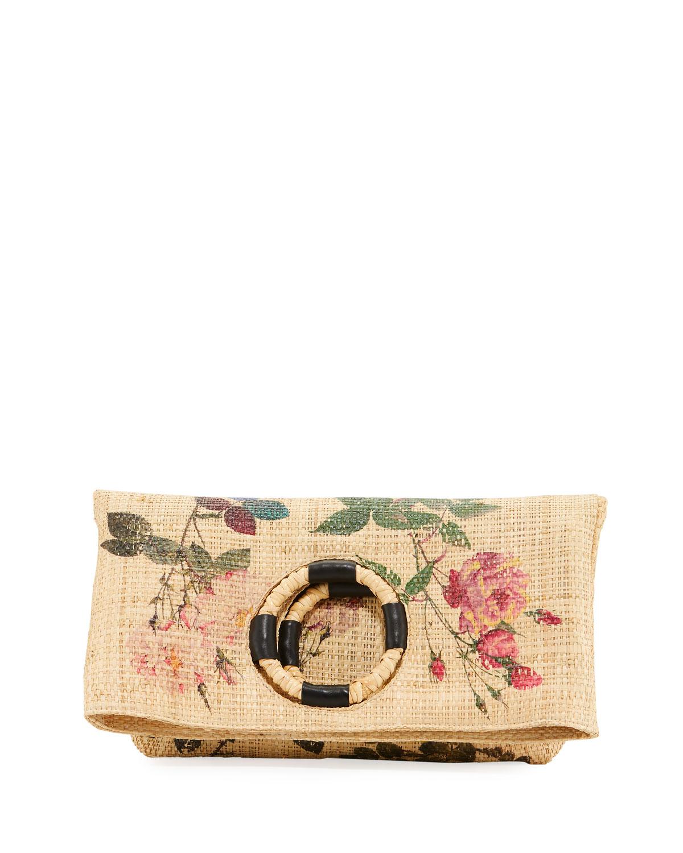 MARIA LA ROSA Rosae Woven Tote Bag in Multi Pattern