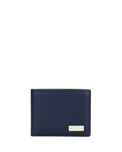 Men's Bevye Embossed Leather Bi-Fold Wallet, Dark Blue