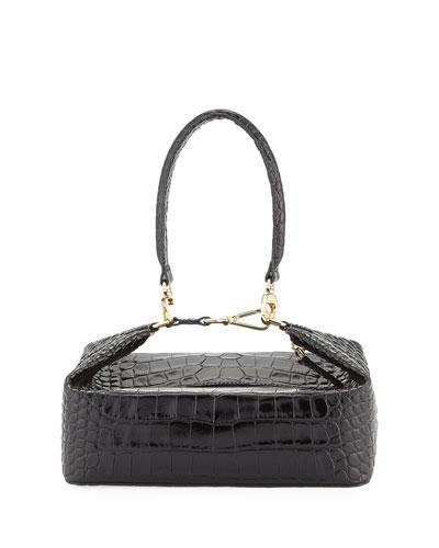 Olivia Crocodile-Embossed Top Handle Bag, Black