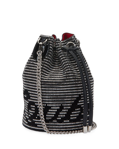 Marie Jane Suede Bucket Bag with Crystal Stripes