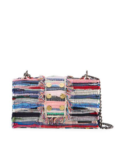 New Yorker Woven Front-Flap Bag w/ Removable Crossbody Chain Strap