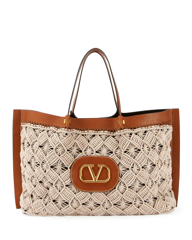Valentino Coats Go Logo Escape Large Tote Bag, BEIGE