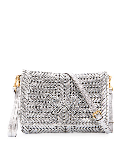 The Neeson Woven Metallic Leather Crossbody Bag