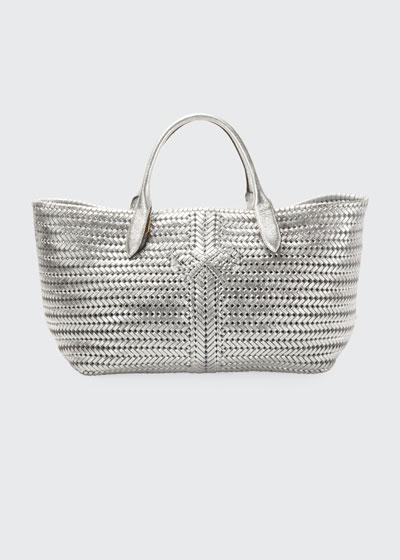 The Neeson Woven Metallic Leather Tote Bag