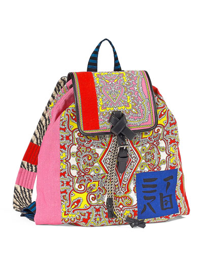 d0c6679e82e Multi-Brocade Drawstring Backpack